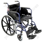Deluxe Self Propelled Steel Wheelchair - Colour Blue
