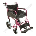 Compact Transport Aluminium Wheelchair - Colour Deep Pink