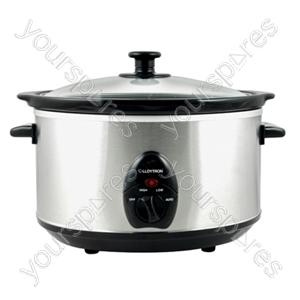 KitchenPerfected 3.5Ltr Oval Slow Cooker - Brushed Steel