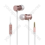 Metallic Magnetic Stereo Earphones - w/HF Rose - EMHF1-RSE