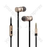 Metallic Magnetic Stereo Earphones - w/HF Gold - EMHF1-GLD