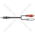 3.5mm Stereo Plug to 2 x RCA Plugs Leads - 5.0m