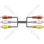 Three RCA Plugs to Three RCA Plugs Leads - 3 x 3 x 1.2m