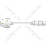 10A UK to IEC Mains Power Leads - Plug White 1.0m