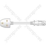 10A UK to IEC Mains Power Leads - Plug White 5.0m