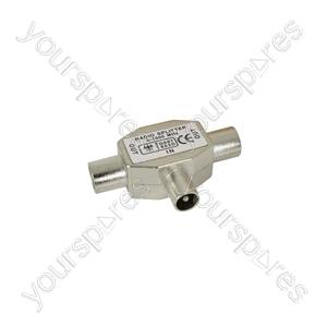 Radio/TV splitter, 1 plug, 2 sockets