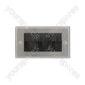 Brush wallplate double - white
