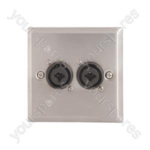 Steel AV Wallplate with 2 x XLR/Jack Combo Connectors - Socket