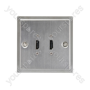 HDMI Double Steel Wallplate - x 2