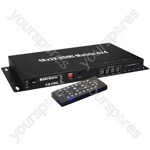 4x4 HDMI 4K Matrix Switch - 4:4 Distribution - HD44