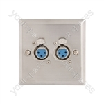 Steel AV Wallplate with 2 x XLR Sockets - 3pin