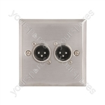 Wallplate 2 x 3pin XLR Plugs