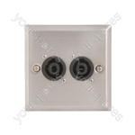 Wallplate 2 x 4 Pole Speaker Socket