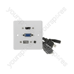 Multimedia Wallplate with HDMI, VGA, USB and 3.5mm Audio Sockets - HDMI+VGA+3.5mm+USB