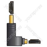HDMI right angled coupler, plug to socket