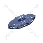 3 Way Audio/Video Input Selector - selector, 3-way, Blue - AD-AV31