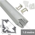 Aluminium LED tape profile 1m - angle 45°