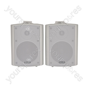 Amplified stereo speaker set - white