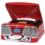Memphis - Vinyl Turntable, MP3 Player, FM Radio & CD Deck - Red