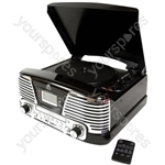 Memphis - Vinyl Turntable, MP3 Player, FM Radio & CD Deck - Black