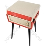 Bermuda - Retro Style Turntable with Removable Legs - Red/Cream