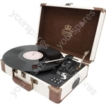 Ambassador - Retro Style Briefcase Turntable - Cream/Tan