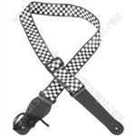 Webbing Guitar Straps - Black + White Chequered - STP-CHQ