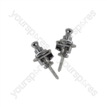Set of 2 strap locks for guitar - chrome