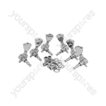 Tuning Machine Heads - Set of 3 + 3 - 3-a-side Tuners Chrome - TUNERS-2X3-CR