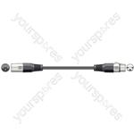 DMX lighting lead, 3-pin XLR plug to 3-pin XLR socket - 1.5m