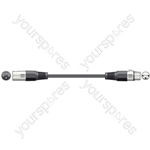 DMX lighting lead, 3-pin XLR plug to 3-pin XLR socket - 1.5m