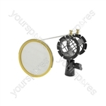 Microphone Shock Mount with Pop Screen - Integrated Shield - SMH50