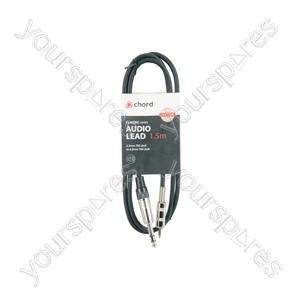 Classic 3.5mm TRS Jack to 6.3mm TRS Jack Leads - 6.35mm-3.5mm 1.5m - S6-3J150