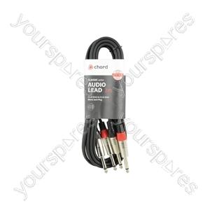 Classic 2 x 6.3mm to 2 x 6.3mm Mono Jack Plug Leads - 2Jack-2Jack 3.0m - 2M6J-J300