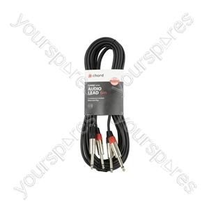 Classic 2 x 6.3mm to 2 x 6.3mm Mono Jack Plug Leads - 2Jack-2Jack 6.0m - 2M6J-J600