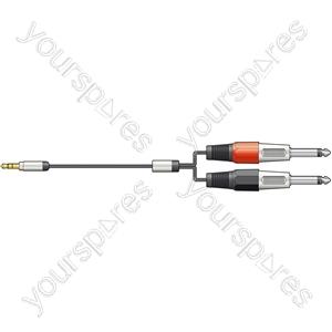 Classic 3.5mm Stereo Jack to 2 x 6.3mm Mono Jack Leads - minijack 1.5m - S3J-26J150