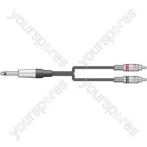 Classic 6.3mm mono jack to 2 RCA lead 3.0m