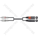 Classic Twin RCA to 2 XLRM Leads - 2XLR M-2RCA 0.75m - 2R-2XM075