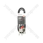 Classic 2 x 6.3mm to 2 x 6.3mm Mono Jack Plug Leads - 2Jack-2Jack 1.5m - 2M6J-J150