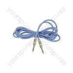 Braided Guitar Leads - Blue/White 3m - BGL-3-BLWH