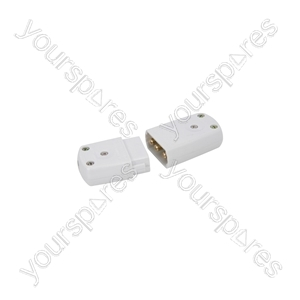 3-pin Polycarbon Connector 10A - 10A, white