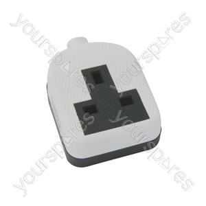 Rubber 1 Gang Trailing Socket - White/Black