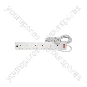 6 Gang Extension Leads with Surge Protection - 13A protection, 2.0m, Blister