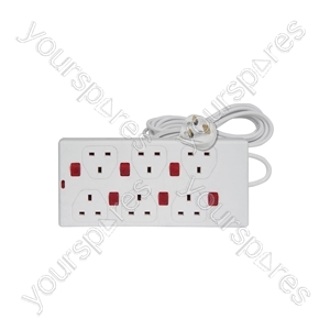 6 gang 13A extension lead with 6 neon switches, 2.0m