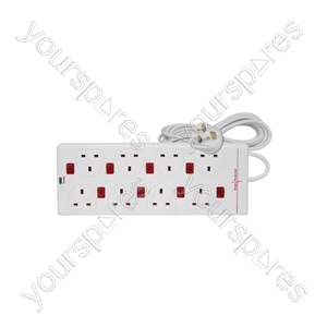8 gang 13A extension lead with anti-surge protection and 8 neon switches