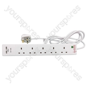 5 Gang Surge Protected Extension Lead with USB 2m