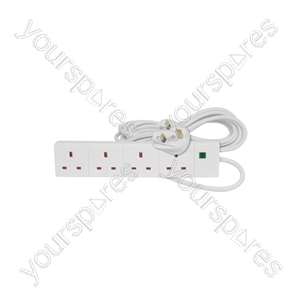 4 Gang Extension Leads with Surge Protection - 4-way lead, protection, 5.0m