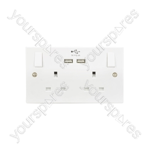 UK 2 Gang Switched Socket with 2 USB Ports