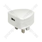 Compact USB Mains Charger 2.1A - USB-UK121v2