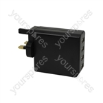 4 Port USB Mains Charger 4.8A - Quad - USB-UK448v2